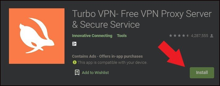 Step 3: Open Google Playstore to download Turbo VPN