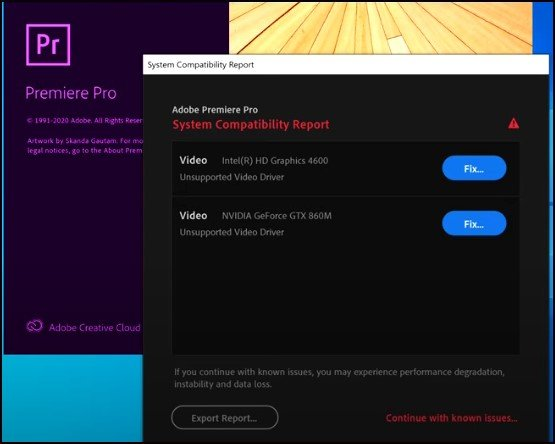 Fix Adobe Premiere Pro 20/21 System Compatibility Report Error
