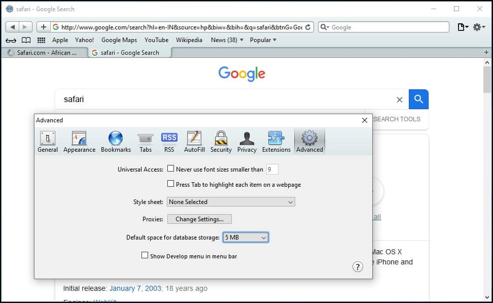 Launch Safari on Windows